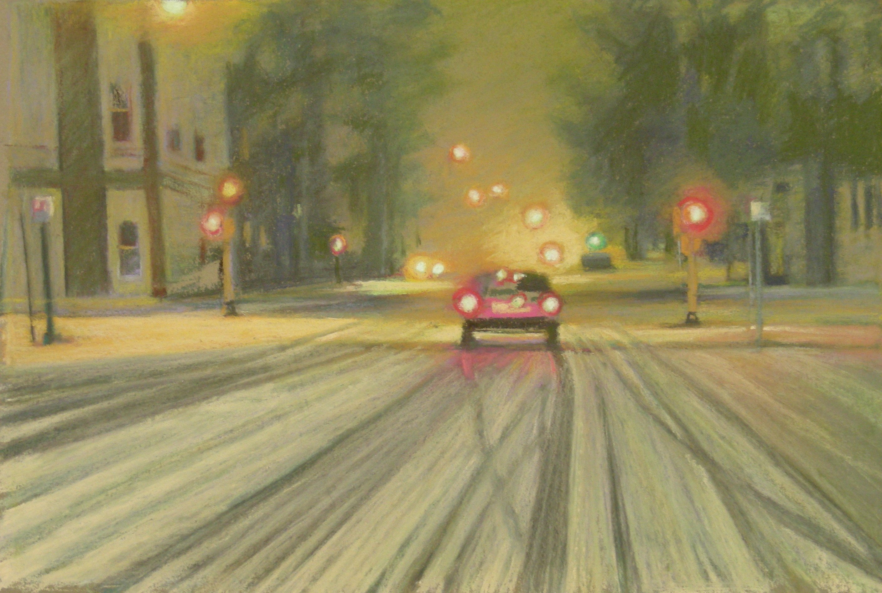 image of pastel on paper depicting city traffic in a Minnesota snowstorm at night