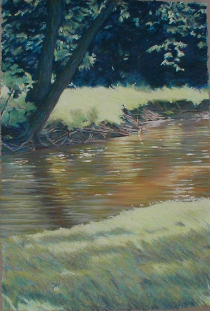 image of a pastel drawing, sun shining on a creek