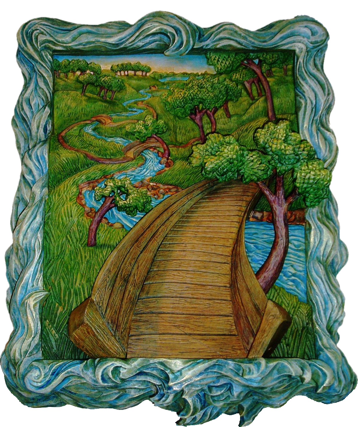 image of a painted woodcarving, bas relief scene of a bridge crossing a stream